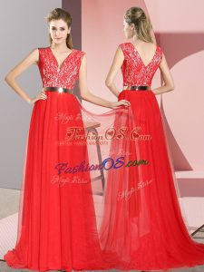Sleeveless Tulle Sweep Train Zipper Prom Evening Gown in Red with Beading and Lace