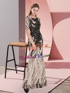 Smart Floor Length Zipper Black for Prom and Party with Sequins