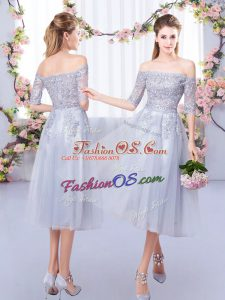 Grey Empire Off The Shoulder Half Sleeves Tulle Tea Length Zipper Lace Quinceanera Court of Honor Dress