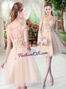 Champagne Lace Up Scoop Appliques Prom Dress Tulle Short Sleeves