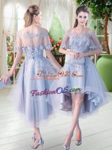 Appliques Party Dress for Girls Light Blue Lace Up Half Sleeves High Low