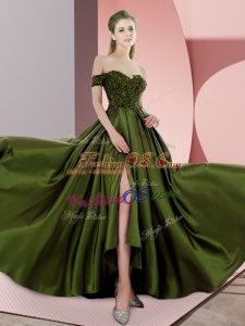 Off The Shoulder Sleeveless Sweep Train Beading Olive Green Elastic Woven Satin