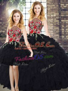New Style Scoop Sleeveless Organza Sweet 16 Dresses Embroidery and Ruffles Zipper