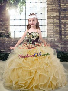Champagne Tulle Lace Up Straps Sleeveless Floor Length Pageant Gowns For Girls Embroidery and Ruffles