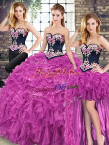 Sleeveless Embroidery and Ruffles Lace Up Quinceanera Dresses with Fuchsia Sweep Train
