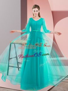 Floor Length Lace Up Prom Evening Gown Turquoise for Prom and Party and Military Ball with Beading
