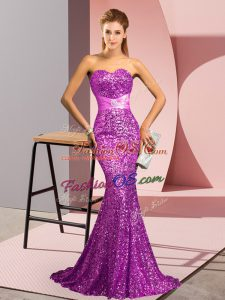 Smart Sleeveless Sweep Train Beading Zipper Prom Dress