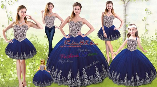 Royal Blue Sweetheart Lace Up Beading and Appliques Sweet 16 Quinceanera Dress Sleeveless