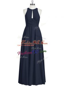 Black Zipper Scoop Ruching Evening Dress Chiffon Sleeveless