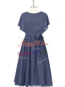 Artistic Chiffon Short Sleeves Knee Length Party Dress for Toddlers and Bowknot