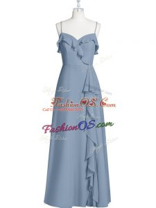 Clearance A-line Prom Party Dress Blue Spaghetti Straps Chiffon Sleeveless Floor Length Zipper