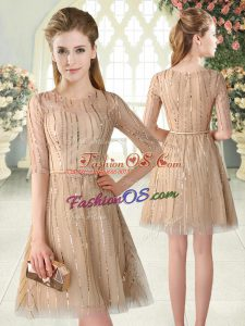 Champagne A-line Tulle Scoop Half Sleeves Sequins Mini Length Zipper Dress for Prom