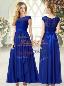 Royal Blue Chiffon Zipper Scoop Cap Sleeves Ankle Length Prom Party Dress Lace