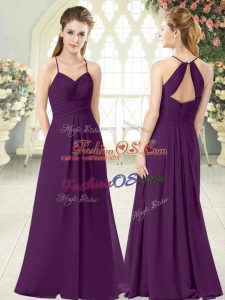 Attractive Floor Length Purple Prom Dress Spaghetti Straps Sleeveless Zipper