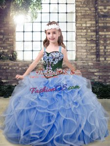 High End Light Blue Little Girls Pageant Dress Wholesale Party and Wedding Party with Embroidery and Ruffles Straps Sleeveless Lace Up
