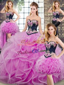 Lilac Sleeveless Embroidery and Ruffles Lace Up Sweet 16 Dresses