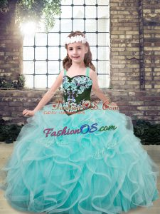 Aqua Blue Sleeveless Embroidery and Ruffles Floor Length Little Girls Pageant Gowns