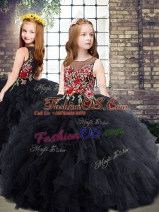 Exquisite Black Tulle Zipper Scoop Sleeveless Floor Length Girls Pageant Dresses Embroidery and Ruffles