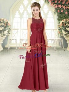 Hot Sale Burgundy Scoop Backless Lace Evening Dress Sleeveless