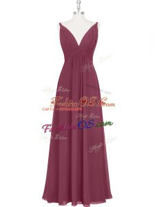 Burgundy Sleeveless Floor Length Ruching and Pleated Backless Prom Evening Gown