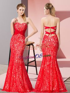 Sleeveless Lace Floor Length Backless Dress for Prom in Red with Beading