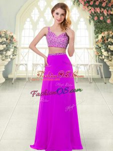 Floor Length Purple Prom Dress Straps Sleeveless Zipper