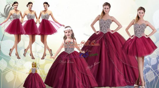 Latest Red Ball Gowns Sweetheart Sleeveless Tulle Floor Length Lace Up Beading Quinceanera Dress