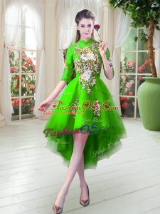Custom Design High Low A-line Half Sleeves Green Prom Party Dress Zipper