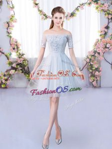Grey Lace Up Off The Shoulder Lace Quinceanera Dama Dress Tulle Short Sleeves