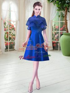 Custom Designed Royal Blue Cap Sleeves Satin Lace Up Evening Dress for Prom