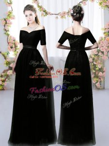 Popular Floor Length Black Vestidos de Damas Off The Shoulder Short Sleeves Lace Up