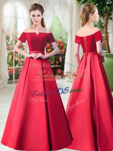 Comfortable Floor Length Red Prom Dresses Off The Shoulder Short Sleeves Lace Up