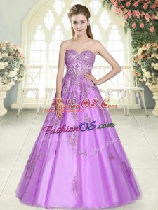 Lilac Sweetheart Neckline Appliques Prom Party Dress Sleeveless Lace Up