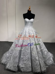 Attractive Sleeveless Lace Up Floor Length Sequins Quinceanera Gown
