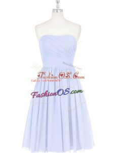 Light Blue Chiffon Side Zipper Homecoming Dress Sleeveless Knee Length Ruching and Pleated