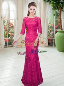 Lace Half Sleeves Floor Length Prom Dresses and Lace