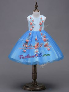 Romantic Scoop Sleeveless Tulle Flower Girl Dresses for Less Hand Made Flower Zipper