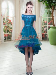 Enchanting Off The Shoulder Short Sleeves Lace Up Prom Evening Gown Teal Tulle