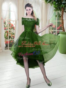 Green Off The Shoulder Neckline Lace Prom Gown Short Sleeves Lace Up