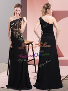 Flare Black Column/Sheath Chiffon One Shoulder Sleeveless Beading Floor Length Side Zipper Evening Dress
