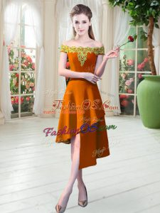 Comfortable Off The Shoulder Sleeveless Prom Dresses Asymmetrical Appliques Orange Satin