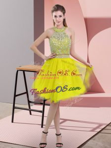 Yellow Sleeveless Organza Backless Prom Gown for Prom and Party
