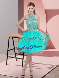Turquoise Backless Halter Top Beading Prom Gown Organza Sleeveless