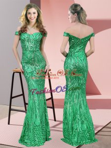 Green Mermaid Ruching Prom Dresses Zipper Sequined Sleeveless Floor Length