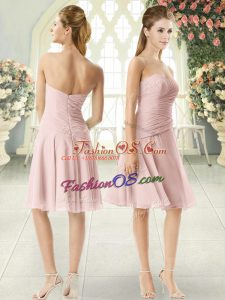 Top Selling Pink Chiffon Zipper Sweetheart Sleeveless Knee Length Ruching