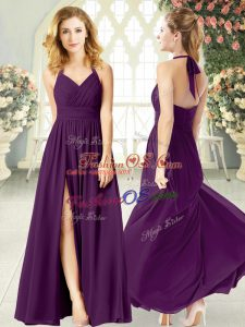 Modest Chiffon Halter Top Sleeveless Backless Ruching Prom Dresses in Purple