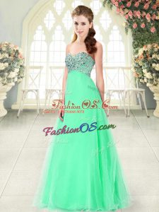 Apple Green Sleeveless Tulle Lace Up Prom Evening Gown for Prom and Party