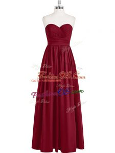 Great Wine Red Sleeveless Pleated Floor Length Homecoming Dress