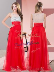 Red Chiffon Side Zipper Scoop Sleeveless Floor Length Prom Evening Gown Sequins