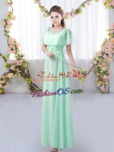 Fine Apple Green Short Sleeves Appliques Floor Length Bridesmaid Dresses